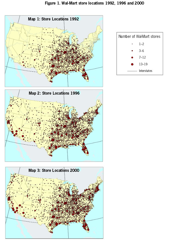 Figure 1: Wal-Mart store locations 1992, 1996 and 20001